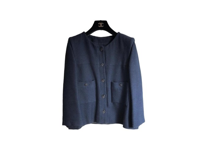Vestes Chanel Jacket Chanel Coton Bleu Marine ref.101320