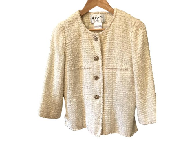 Vestes Chanel Jacket Chanel Tweed Blanc ref.101323
