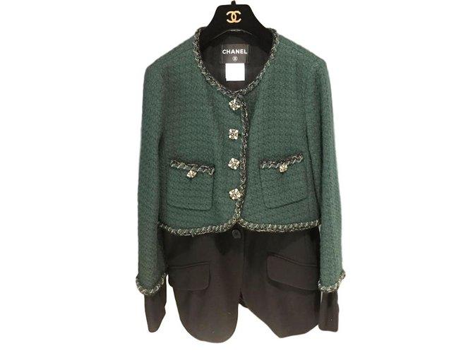 Vestes Chanel Jacket Chanel Tweed Vert ref.101325