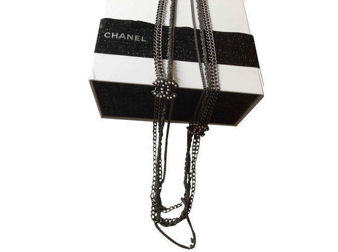Colliers Chanel Sautoir Chanel Acier Gris,Métallisé ref.101327