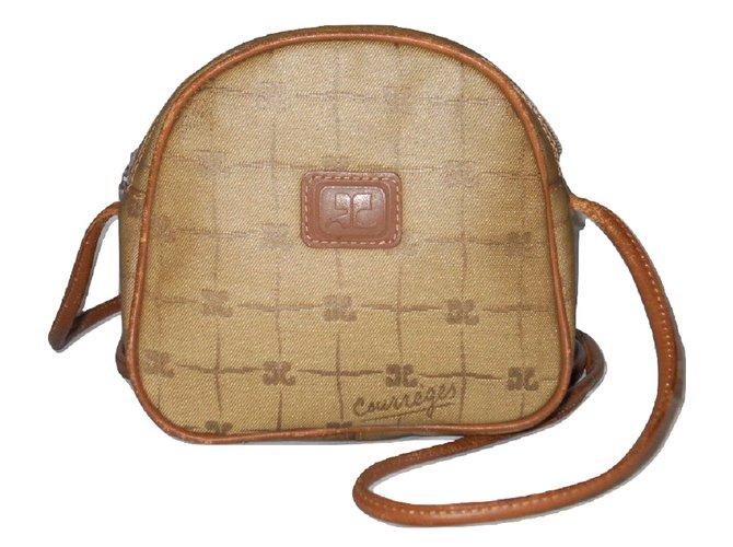 Sacs à main Courreges COURREGES vintage sac logoté beige. Cuir,Toile Beige,Cognac ref.101356