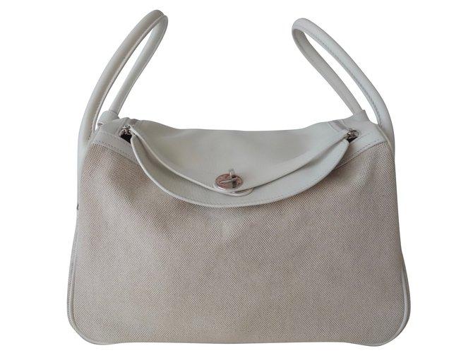 Sacs à main Hermès SAC LINDY HERMES Cuir,Toile Blanc,Beige ref.101371