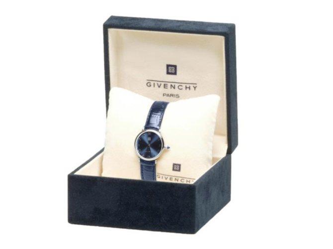 """Montres Givenchy GIVENCHY Montre Femme  """"Shanghai BLUE""""  diamètre 24mm - Acier & Cuir bleu Cuir Bleu ref.101374"""