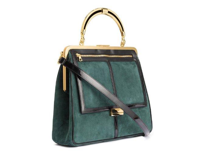 Sacs à main Balmain pour H&M Sacs à main Suede Vert foncé ref.101385