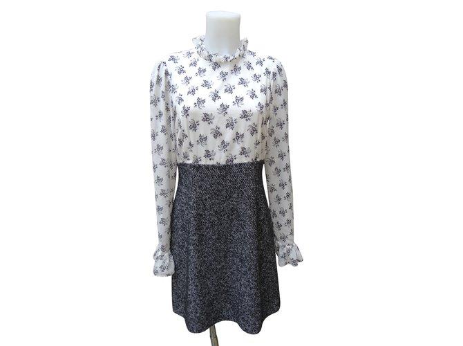 Robes Dolce & Gabbana Robes Soie,Polyester,Laine,Elasthane,Acrylique Noir,Gris,Écru ref.101389