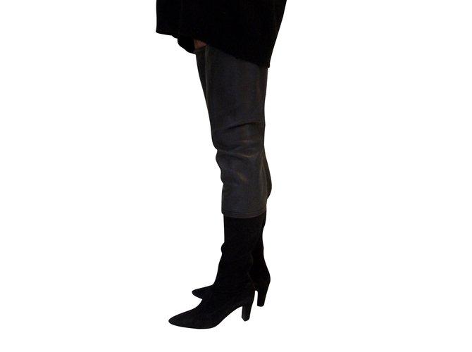 Bottes Chanel Cuissardes maxi bi matière cuir d'agneau Noir ref.101407