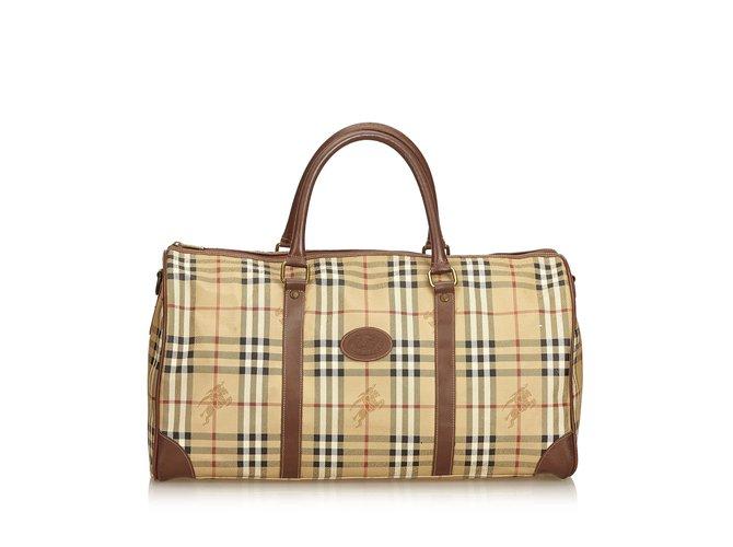 Sacs de voyage Burberry Plaid Duffle Bag Cuir,Cuir vernis,Plastique Marron,Multicolore,Beige ref.101411