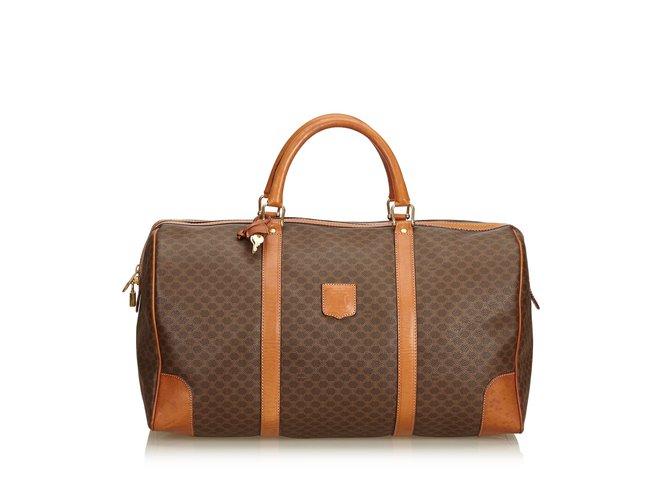 Sacs de voyage Céline Macadam Duffle Bag Cuir,Autre,Plastique Marron ref.101416