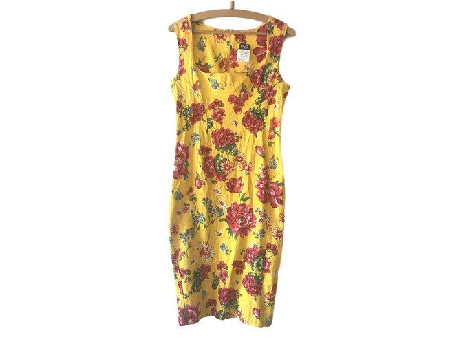 Robes Dolce & Gabbana DOLCE & GABBANA Coton Jaune ref.101426