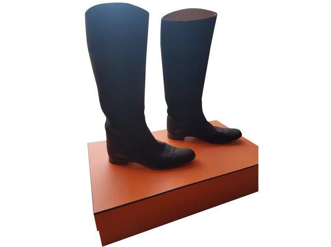 Hermès Boots Boots Deerskin Dark brown ref.101443