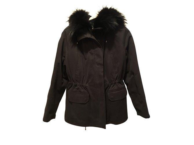Vestes Yves Salomon Parka Coton,Fourrure Noir,Bleu foncé ref.101458