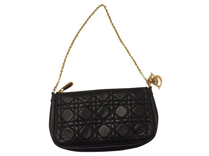 Sacs à main Christian Dior LADY DIOR Cuir Noir ref.101466