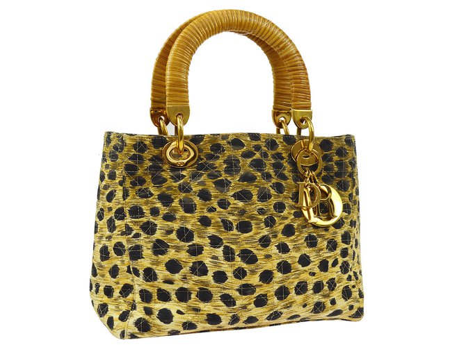 Sacs à main Christian Dior Lady Dior Cheetah Autre Marron ref.101490
