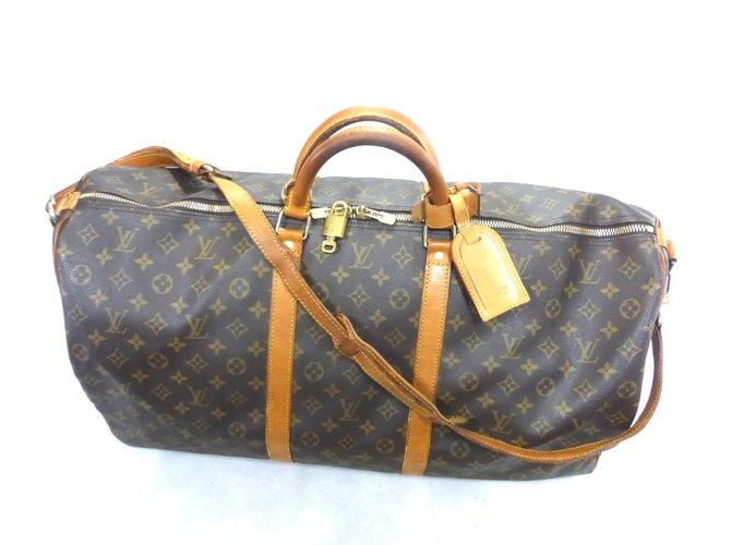 Sacs de voyage Louis Vuitton KEEPALL 60 BANDOULIERE MONOGRAM Cuir Marron ref.101528