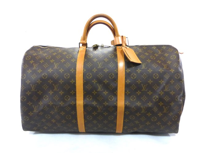 Sacs de voyage Louis Vuitton KEEPALL 60 MONOGRAM Cuir Marron ref.101530