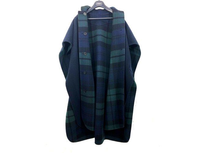 Manteaux Burberry Cape Burberry bleu unie et check vert et bleu réversible neuve avec étiquettes Laine Bleu ref.101543