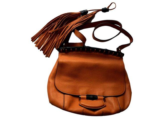 9c744f28a5115c Gucci Bamboo crossbody bag Handbags Leather Orange ref.101552 - Joli ...