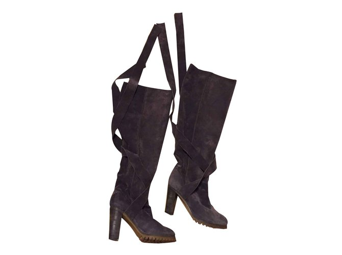 Chloé Tall suede boots Boots Suede Grey ref.101555