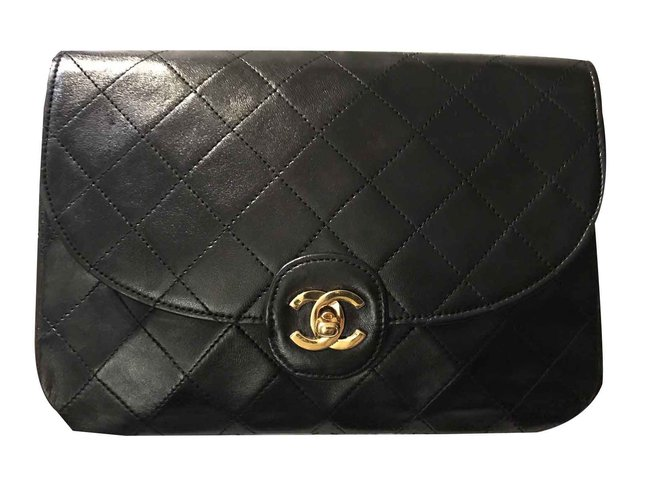 5a94a116b52d Chanel TIMELESS Large Vintage Clutch Handbags Leather Black ref.101576