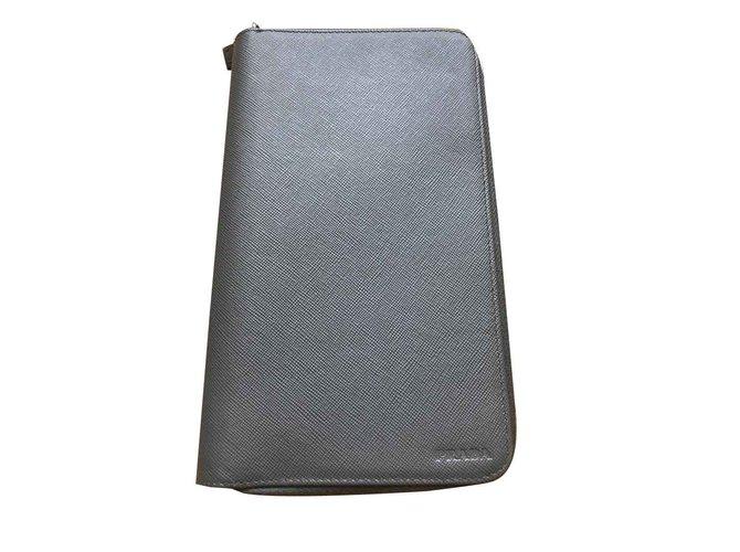 c3ee4f904829e4 Prada PRADA MEN'S WALLET MINI BAG NEW Wallets Small accessories Leather Grey  ref.101593