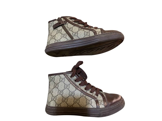 Gucci Sneakers Sneakers Leather,Cloth Brown ref.101665