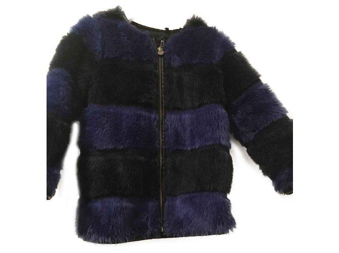 Blousons, manteaux filles Ikks manteau fille en fausse fourrure IKKS Synthétique Noir,Bleu foncé ref.101807