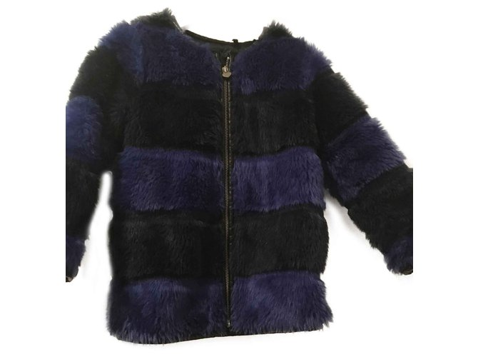 Ikks faux fur girl coat IKKS Girl Coats outerwear Synthetic Black,Dark blue ref.101807