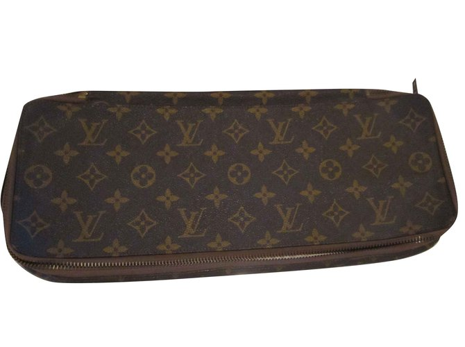 Louis Vuitton tie pocket Wallets Small accessories Cloth Brown ref.131807