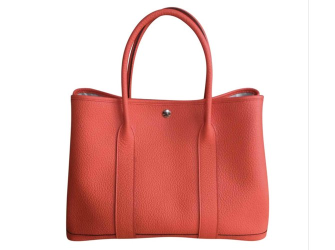 Hermès Garden Party Handbags Leather Orange ref.101870