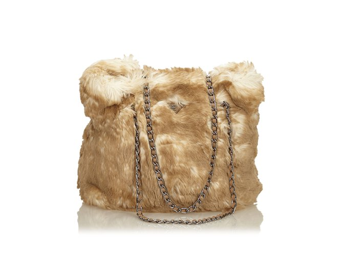 Prada Faux Fur Chain Tote Bag Totes Leather,Other Brown,White,Beige ... 7f1ae77327
