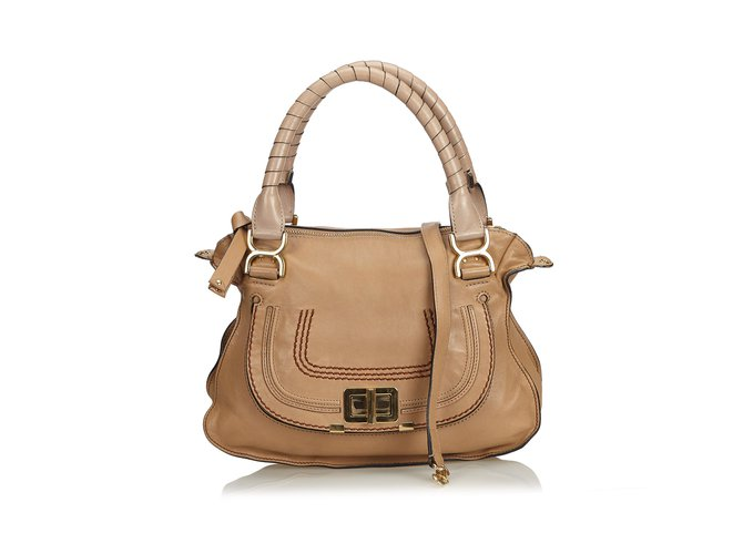 Chloé Leather Marcie Satchel Handbags Leather,Other Brown,Beige ref.101905