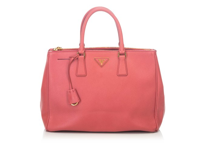 Prada Large Saffiano Lux Galleria lined Zip Tote Totes Leather,Other Pink  ref.101945 142b396ac3
