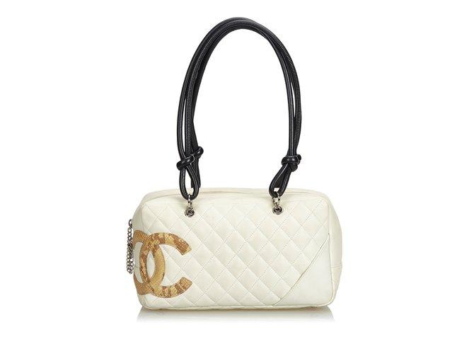 9c0c5e87cf2a Sacs à main Chanel Cambon Ligne Sac à bandoulière Cuir Marron,Blanc,Beige,