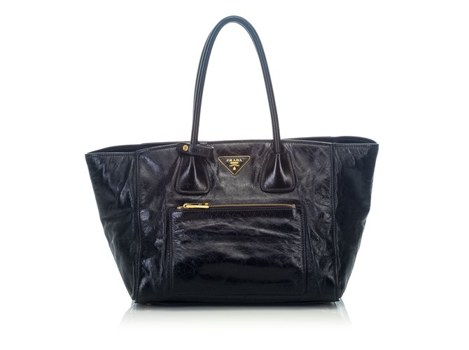 34d40f5c422d6c Prada Front Pocket Wing Convertible Vitello Daino Leather Satchel Handbags  Leather,Other Black ref.