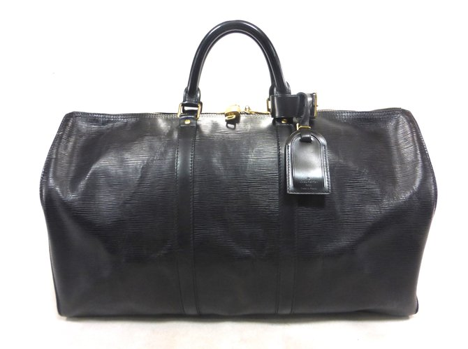 Sacs de voyage Louis Vuitton KEEPALL 50 CUIR EPI NOIR Cuir Noir ref.101974