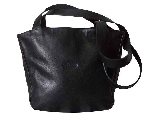 6d21da3d419e Longchamp LEATHER HAND BAG Handbags Leather Black ref.102009 - Joli ...