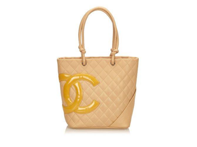 31450b2d73 Chanel Cambon Ligne Tote Totes Leather,Other,Patent leather Brown,Beige ref.