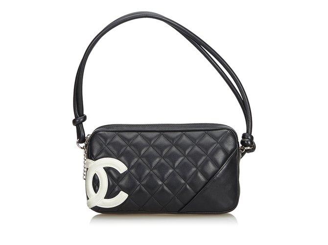 752e35d13e7 Sacs à main Chanel Cambon Ligne Pochette Cuir Noir