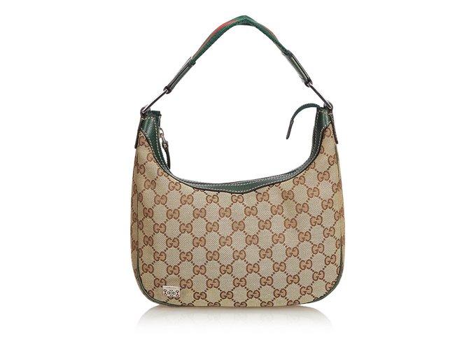 9ac24775f Gucci Guccissima Canvas Web Shoulder Bag Handbags Leather,Other,Cloth Brown ,Black,