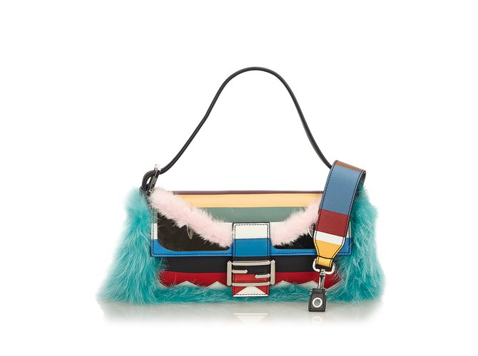 6e7535a1f3f4 Fendi Fur Monster Baguette Handbags Leather