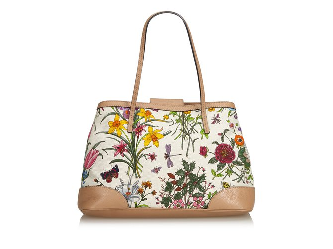 1bc7c356aa Gucci Canvas Floral Tote Bag Totes Leather