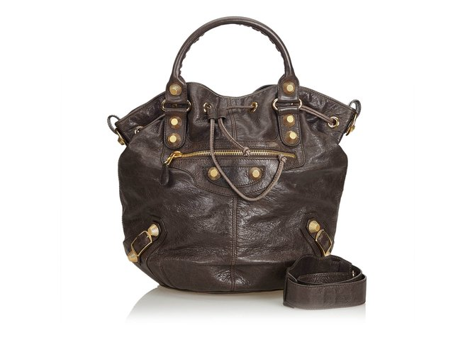 e99fb86fdc Balenciaga Motocross Classic Pompon Bag Handbags Leather,Other Black  ref.102276