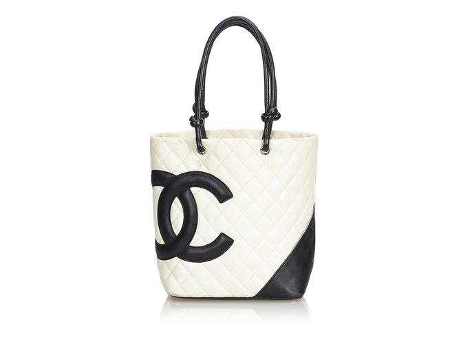 a2879dfcf Chanel Cambon Ligne Tote Totes Leather Black,White,Cream ref.102320 ...