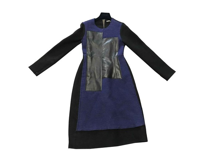 Céline CUBE DRESS lined FACE CACHMERE AND BLADE WOOL Dresses Leather,Cashmere Black,Blue ref.102347