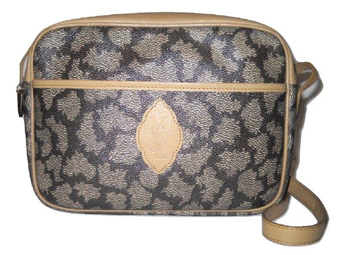 YVES SAINT LAURENT vintage sac à main toile enduite girafe