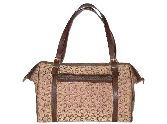 6542f927f5 Céline CELINE vintage travel bag Boston canvas Sulky brown Travel bag  Leather