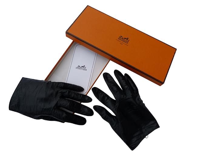 a66aaec68238 Hermès Gloves Gloves Leather Black ref.102391 - Joli Closet