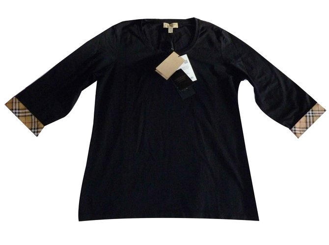 Burberry New Burberry tunic t-shirt Tops Cotton Black ref.102501