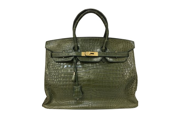 Hermès Birkin Bag 35 Croco Leather in Vert Veronese Handbags Exotic leather  Green ref.102567 c15e03c899