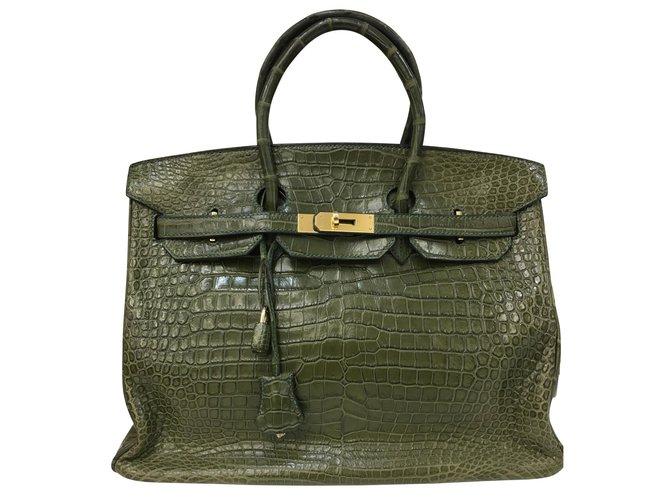 Hermès Birkin-Tasche 35 Kroko-Leder in Vert Veronese Handtaschen Exotisches Leder Grün ref.102567